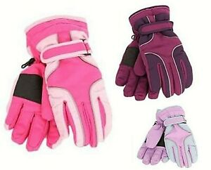GIRLS PADDED SKI GLOVES THERMAL INSULATION THINSULATE LINED WATERPROOF GLOVE
