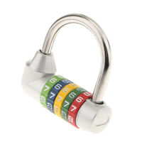 Security Padlock 5 Dial Digit Code Combination Lock Travel Suitcase Silver
