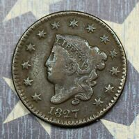 1827 Coronet Head Large Cent. Copper Collector Coin for your Collection or Set.