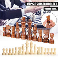 32Pcs Wooden Chess Set Pieces Full Wood Felted Hand Crafted Set Large 91mm