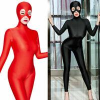 Women Zentai Party Costume Bodysuit Shiny Catsuit Unitard Jumpsuit Hood Mask