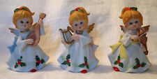 Vintage Homco Set of 3 Musical Instrument Christmas Angel Figurines in Box #5551