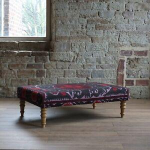 Vintage Suzani Covered Footstool / coffee table C1940 #4