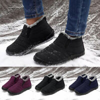 Mens Waterproof Winter Warm Fur-lined Fluffy Snow Ankle Boots Slip On Shoes