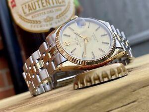 Tudor Prince Date Oysterdate Men Automatic Gold Steel Rolex 1984 Vintage watch