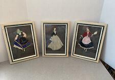 Vintage Fabric Dressed 3D Dolls Under Glass Framed Art Thrace Greece S/3
