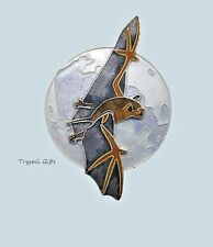 Bamboo Jewelry BAT & MOON Cloisonne PIN Sterling Silver HALLOWEEN Fall + Box