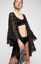 NEW Free People Intimately Move Over Black Lace Robe Kimono Wrap Size XS
