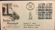 US FDC BUNKER HILL MONUMENT BLOCK OF 4 FIRST DAY COVER (FV 10 CENT) 1959