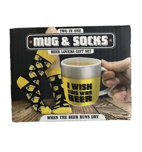 Gift Set Mug & Socks 2 in 1 Beer Lovers Funny Mug Christmas Birthday Gifts