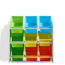 Levede 9 Bin Wooden Kids Bookshelf - Multicolor