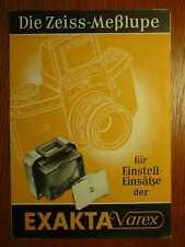 IHAGEE Exakta Varex Zeiss-Meßlupe für Einstelleinsätze - Orig. Prospekt (1953)