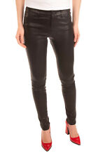 RRP €355 ALICE + OLIVIA Leather Trousers Size 6 Stretch Black Branded Button