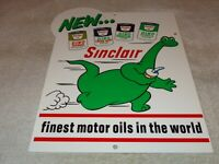 "VINTAGE SINCLAIR DINO DINOSAUR MOTOR OIL 12"" METAL SERVICE STATION GASOLINE SIGN"