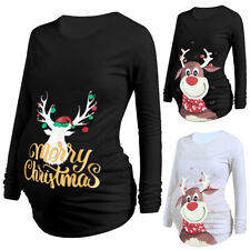 Womens Christmas Reindeer Maternity Top Pregnancy Pullover Blouse Tops Jumper