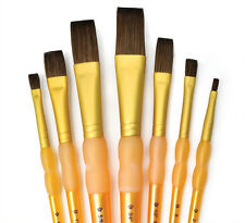 Royal Langnickel Brushes Paint CAMEL HAIR FLAT 7pc Set CRAFTERS CHOICE RCC403
