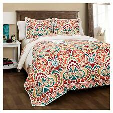 Clara Quilt 3 Piece Set (Full/Queen) Turquoise/Tangerine - Lush Décor