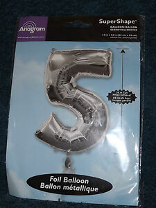 Anagram Super Shape Supershape Foil Balloon # 5 Five Silver (a)