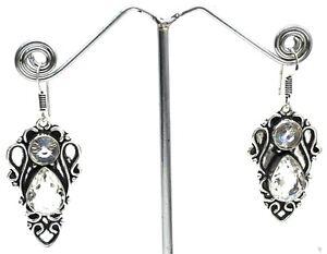 """White Topaz Gemstone 925 Sterling Silver Handmade Jewelry Earrings Size-1.50"""""""