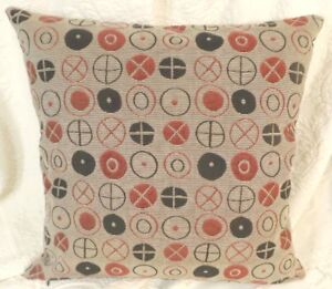 Maharam CIRCLES Red Black fabric Modern Mid Century Pillow  w INSERT