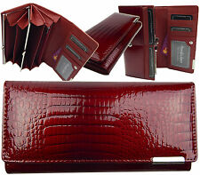 Geldbörse Damen Portemonnaie Lack Geldbörse  Portmonee echtes Leder 5289 Rot