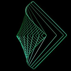 Square Wave Emerald green limited edition made by Kinetrika Kinetic toy art