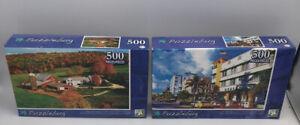 """Lot of (2) Puzzles. Puzzlebug """"Wells River,Vermont"""" & """"Ocean Drive,Miami 500 Pcs"""