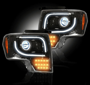 Recon Smoked Lens Projector Headlights w/OEM Projectors for Ford F150/Raptor