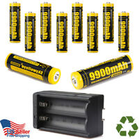 10Pcs 9900mAh Powerful 18650 Battery 3.7v Li-ion Rechargeable Battery + Charger
