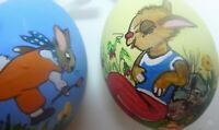 Lot 2 Easter Eggs Hand Painted Ornaments Pastel Colors Ribbon