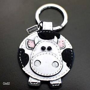 NEW Coach COW Haircalf Leather keychain keyring key fob charm 92775 NEW RARE