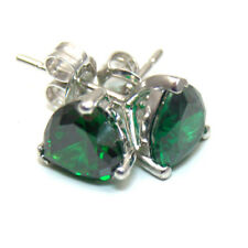 Emerald 2.50ct Heart Stud Earrings Solid Silver Rhodium Platinum Diamond Unique