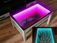 Birken Tisch LED 3D Couchtisch Spiegel Glastisch Tiefeffekt 90x55 + 50 Diamanten