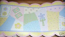 Kidsline Isabella WALL BORDER patchwork pastel doodle flower butterflies gingham