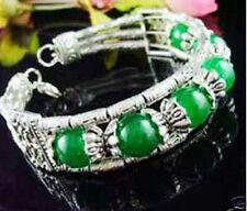 Green jade bracelet Asian Tibet silver jewellery