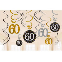 12Pcs 30/40/50/60 Years Spiral Hanging Ornaments Birthday Party Decor New