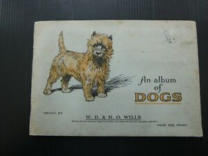 ONE COMPLETE SET CIGARETTE CARDS WILL'S DOGS STUCK IN ALBUM