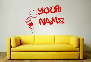 YOUR NAME GRAFFITTI STYLE Wall Art Sticker, Decal, Mural incl. spray can decal