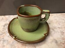 Vintage Frankoma Mid Century Demitasse Cup (5DC) Scalloped Saucer (5DE) Expresso