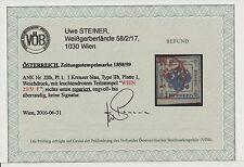 1858/59 Zeitungsstempelmarke, 1kr, Type II.b, Platte 1, WIEN ROTSTEMPEL! VÖB