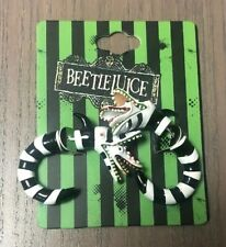 Beetlejuice Sandworm Metal Faux Tunnel Earrings Black And White Tone