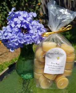 Bees Wax Tea Lights - Naturally Honey Scented - Aspen Candle Shop- Free Shipping