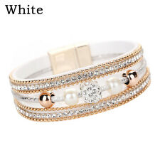 Hot Women Multilayer Bangle Bracelet Crystal Beaded Leather Magnetic Wristband White