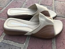 NINE WEST Cloud 9 Nine Slip On Flip Flops Slides Sandals Brown/Tan Womens 7.5