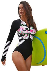 Women's Front Zipper Long Sleeve Swim Wear Rash Guard One Piece Scuba Swimsuit