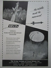 8/1958 PUB IRVING AIR CHUTE IRVIN PARACHUTE RECOVERY GUIDED WEAPON MISSILE AD