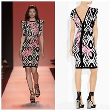 a5c00f066667 NEW HERVE LEGER sz L BLACK COMB SEAN SEQUINED IKAT JACQUARD WAVE DRESS