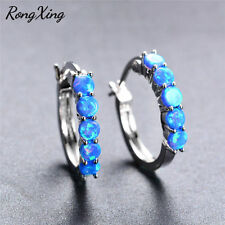 Rong Xing Round Cut Blue Fire Opal Claw Earrings 925 Silver Ear Buckle For Women