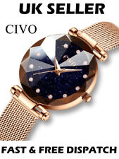 Civo Luxury Starry Sky Designer Gold Diamond Shaped Women's Watch Star Sparkle
