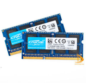 For Crucial 16GB 8GB 2Rx8 PC3L-12800S DDR3-1600Mhz SO-DIMM Laptop Memory RAM